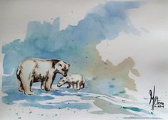 Osos Acuarela Moose Art, Painting, Animals, Bears, Water Colors, Dibujo, Animales, Animaux, Painting Art
