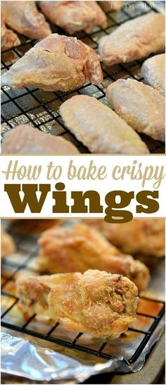 How to bake crispy chicken wings in the oven! We make these all the time now tha… How to bake crispy chicken wings in the oven! We make these all the time now that they come out crunchy and crispy like this! AD via Oven Fried Chicken Wings, Crispy Baked Chicken Wings, Cooking Chicken Wings, Oven Baked Wings, Crispy Oven Wings, Cooking Wings In Oven, Baked Wings Recipe, Krispy Chicken, Cook Chicken In Oven