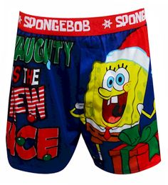 SpongeBob Naughty Is The New Nice Boxer Shorts That silly Spongebob is at it again! These boxer shorts for men feature SpongeBo...