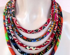 Colorful Red Necklace African wax print BIB necklace by nad205