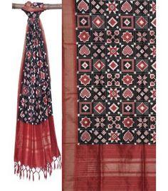 Black and Red Pochampally Ikat Silk Handloom Dupatta ds1294