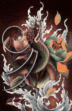 Oriental, Asian Tattoos, Snake Tattoo, Irezumi, Tattoo Sketches, Asian Style, Japanese Art, Tattoo Designs, Drawings