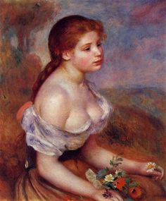 Young Girl with Daisies - Pierre-Auguste Renoir