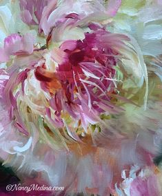 """Daily Paintworks - """"All Things Peony"""" - Original Fine Art for Sale - © Nancy Medina Peony Painting, Flower Painting Canvas, Oil Pastel Paintings, Flower Canvas, Diy Painting, Flower Art, Acrylic Flowers, Abstract Flowers, Angel Wings Painting"""