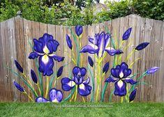 Iris Fence Painting I just finished this GORGEOUS Iris Fence yesterday! Client's new puppy is allerg Garden Fence Art, Garden Mural, Garden Yard Ideas, Backyard Fences, Garden Crafts, Garden Projects, Fence Ideas, Diy Fence, Mural Painting