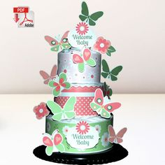 Butterflies and Flowers Diaper Cake