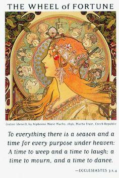 X. The Wheeel of Fortune ( Zodiac by Alphonse Mucha ) - Art of Life Tarot by Charlene Livingstone