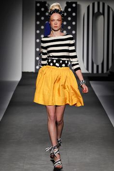 Stripes + polka dots + yellow = love! Moschino!