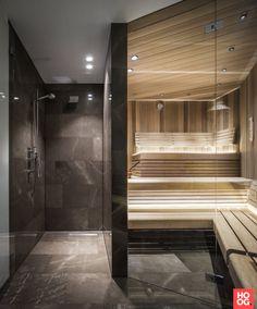 Penthouse M - Francois Hannes Steam Room Shower, Sauna Steam Room, Sauna Room, Spa Interior, Bathroom Interior, Interior Garden, Interior Design, Appartement New York, Modern Saunas