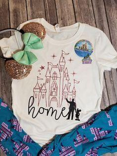 79f3a502f74 Rose Gold Disney Castle Home Shirt - Disney shirts - Disney Shirt for women  - Glitter Disney shirt - Disney castle - Disney tshirts