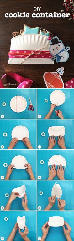 DIY Cookie Container - Have extra paper plates? Just cut, fold, tape and fill!