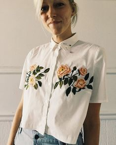 cropped button-down on etsy⚡️ #embroidery #upcycle #botanical