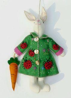 PRE-ORDER Bunny Rabbit in Coat Handmade Wool Felt Applique Ornament Plush Doll