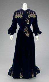 1901 Jeanne Paquin, Victorian, Dresses With Sleeves, House Design, Black Gowns, Bathing Costumes, Long Sleeve, France, Image