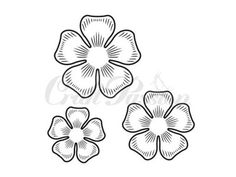 Stempel Craft Passion - Kwiaty nr.2 Felt Flowers, Diy Flowers, Fabric Flowers, Paper Flowers, Tattoo Outline Drawing, Outline Drawings, Stencil Patterns, Embroidery Patterns, Origami Tattoo