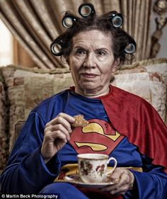 Superwoman relaxes with a cuppa