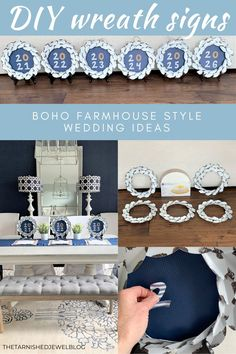 Need a quick & easy wreath sign idea for your upcoming wedding celebration or special event? Try DIY Wreath Signs Using Cake Boards: Boho Farmhouse Style. Teacher Luncheon Ideas, Teacher Party, Teacher Gifts, Diy Wreath, Wreaths, Rustic Wedding, Wedding Ideas, Plate Stands, Floral Centerpieces