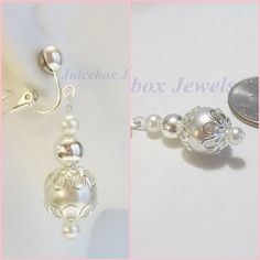 CLIP ON 1.25 inch White Faux Pearl Bridal Silver tone Handmade Drop Earrings V74 #Handmade #DropDangle