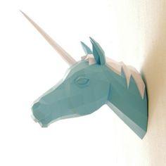 animales papel 3D unicornio