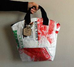 upcycled plastic bags fused into Handbags - http://findgoodstoday.com/handbags