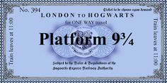Harry Potter Paraphernalia: The Letters/Invitations--Platform 9 3/4 Ticket