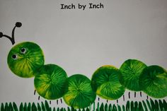I is for inchworm craft made with paint, balloons, and fork for grass. I is for inchworm craft made with paint, balloons, and fork for grass. Letter I Crafts, Alphabet Crafts, Toddler Art, Toddler Crafts, Balloon Painting, Paint Balloons, Painting Grass, Freetime Activities, Worm Crafts