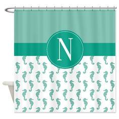 Custom Seahorse Shower Curtain-Personalized by GatheredNestDesigns