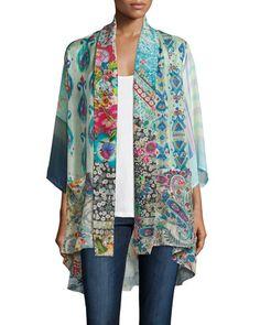 Johnny Was Mixed-Print Tie-Front Silk Kimono Scoop-Neck Cotton Tank, White Kimono Outfit, Kimono Cardigan, Kimono Jacket, Kimono Fashion, Boho Fashion, Fashion Design, Kimono Duster, Silk Kimono, Kimono Top
