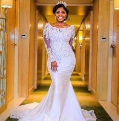 Nigerian Wedding Dresses Sweetheart Neckline with Sheer Lace Appliqued Long Sleeves Chapel Train Length African Black Girl Bridal Gowns girls wedding dresses Scoop Wedding Dress, Wedding Gown Sizes, Sweetheart Wedding Dress, Wedding Dresses Plus Size, Perfect Wedding Dress, Wedding Dress Styles, Wedding Attire, Mermaid Wedding, Wedding Gowns