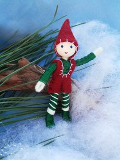 Miniature Christmas Elf -Bendy Doll Ornament by WildflowerInnocence for $18.99