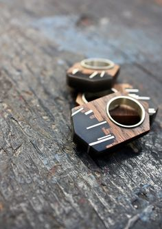 Rings | Teressa Burger.  'Cityscape'.  Wood, silver and resin.