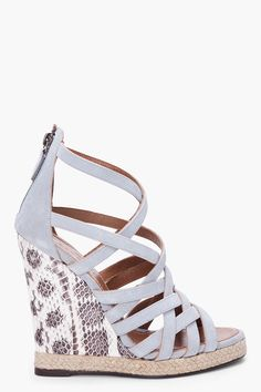 Barbara Bui Tall Grey Suede and Python Wedges in Gray (grey)