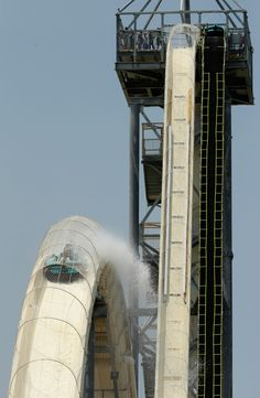 The Verrückt - World's Tallest Water Slide Is Now Open for Business at Schlitterbahn Water Park in Kansas City, Kansas.