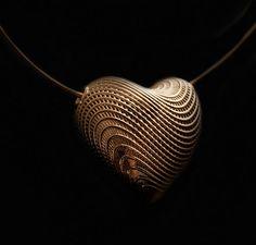 Gold Heart Pendant Necklace - Large Heart Pendant for Wife, Woman, Girlfriend, 14K Yellow Gold Pendant 3D Print, Unique Heart Mother Pendant Hella Ganor, Pendant, 2011