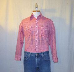 Vintage Rare 70s WRANGLER GINGHAM WESTERN Country Checkered Small Medium Unisex Snap-Front Classic Shirt