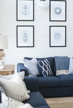Modern coastal cottage decorating style with navy, nautical vibe plus IKEA Vimle Sofa 35 Newest Small Living Room Sofa Beds Apartment Ideas Pallet Patio Furniture, Sofa Furniture, Living Room Furniture, Furniture Projects, Ikea Living Room, Coastal Living Rooms, Coastal Cottage, Lake Cottage, Cottage Living