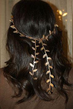 Roman Headdress Toga Party Laurel Leaf Headband hairband garland wreath Gold