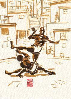 Encres : Capoeira – 338 [ #capoeira #watercolor #illustration]