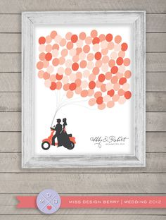 This would also be cute using the thumbprint idea like the family tree I posted here.    wedding guest book alternative -  balloons and vespa (printable). $48.00, via Etsy.