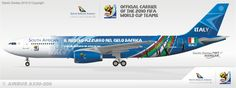 South African Airways A330  Special livery Fifa World Cup 2010  Team Italy
