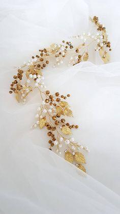 Gold Bridal Hair Vine, Gold Bridal Wreath, Gold Bridal headpiece, Gold Wedding headpiece, Gold Bridal head piece, Gold Wedding head piece