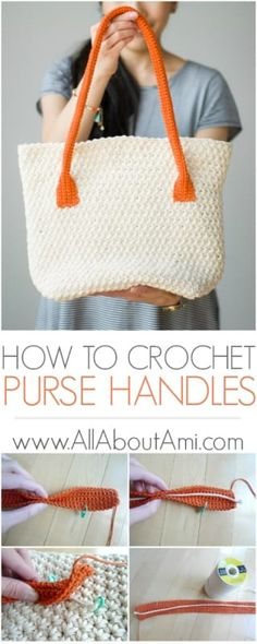 Learn how to crochet stylish purse handles with minimal stretch! Crochet a tube with a cord/rope/ribbon inside to help keep its shape!