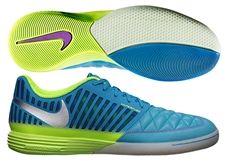 Nike5 Lunar Gato II Indoor Soccer Shoes (Current Blue/Hot Lime/Metallic  Silver