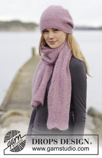 #DROPSDesign stole with wave pattern and hat with garter st. #knitting