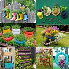 32 most creative and unique planter tutorials! How to make your own planting containers from surprising, up-cycled and re-purposed objects and materials!