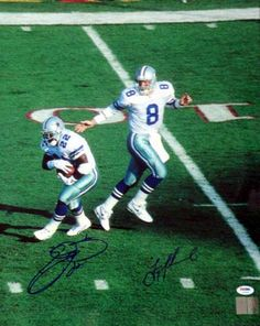 Emmitt Smith & Troy Aikman Autographed 16x20 Photo Dallas Cowboys PSA/DNA.