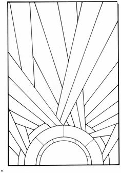 Stained glass pattern from a book of Art Deco Stained Glass Designs. *this with blue water on horizon
