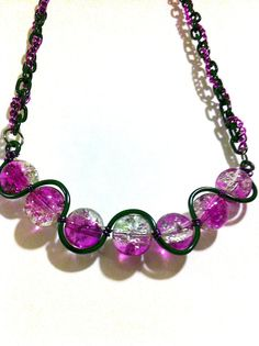 Purple and clear crackle glass squiggle necklace by BeadingByJenn, $25.00