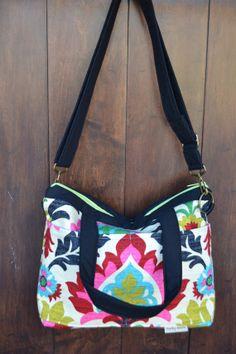 Doctors bag Purse / slouch / market- book bag /  Diaper or travel bag / by Darby Mack / messenger strap  bright pink, black,  lime