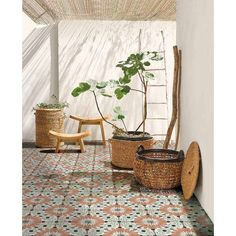 Basket with plant: Liane cart, available in two models: Outdoor Spaces, Outdoor Living, Outdoor Decor, Interior Exterior, Interior Design, Zen Interiors, Zen Space, Natural Interior, Nature Decor